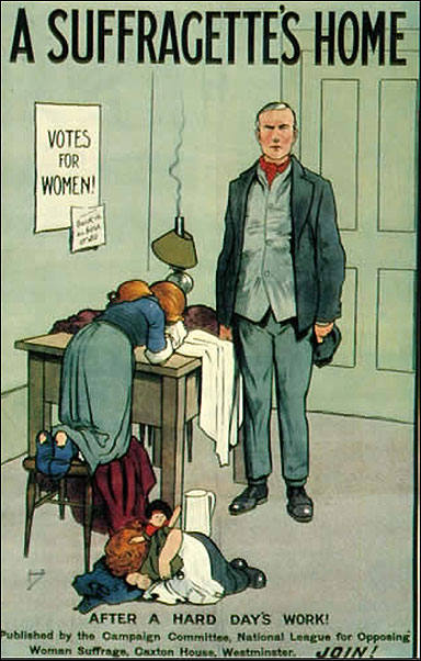 An early 20th century poster arguing against women's entry into the public professions, implying that their (more important) work of taking care of the children and the home will suffer. Note the expression on the husband's face.