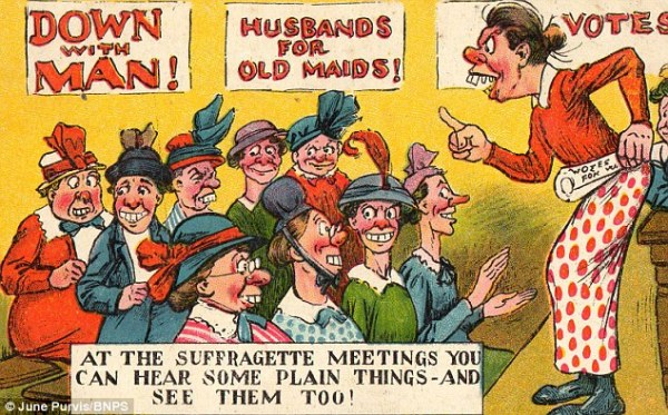 "Another British anti-suffragette postcard, using a pun on the word ""plain"" to describe both their ideas and their looks."
