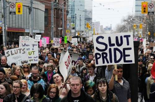 A photo from the first Slutwalk in Toronto, April 2011.