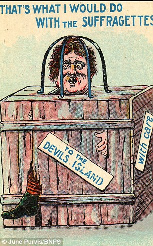 "Another postcard ""humorously"" depicting a violent punishment for a suffragette."