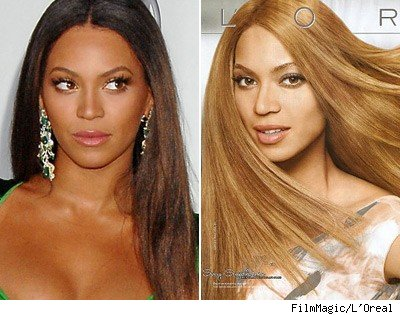 A photograph of Beyonce (left) compared to the representation of her in L'Oreal's advertising campaign for Feria hair color.