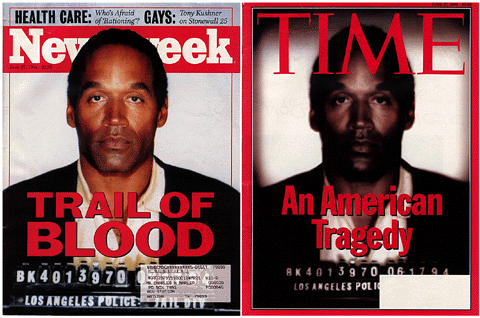 In 1994, former football running back O.J. Simpson made headlines after a dramatic police chase. Simpson was arrested and accused of murdering his wife Nicole Simpson, and the trial was widely televised. He was eventually acquitted of the murder charges, but opinions about his innocence or guilt divided the public for years. Compare the representation of Simpson on these two covers.